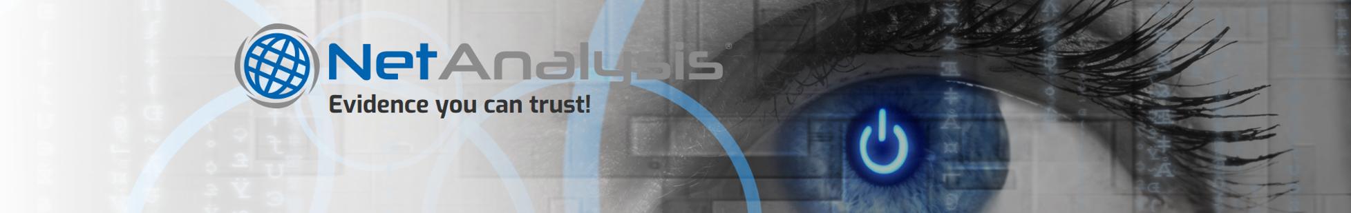 Digital Detective NetAnalysis Eye Banner showing Evidence You Can Trust