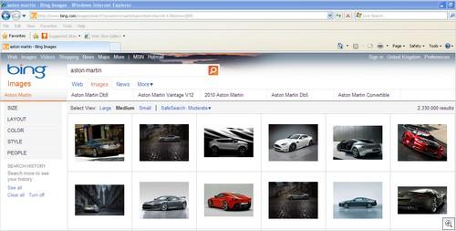 Bing Image Search IE Aston Martin