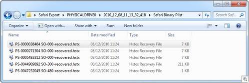 HstEx Output Folder for Apple Safari Extraction
