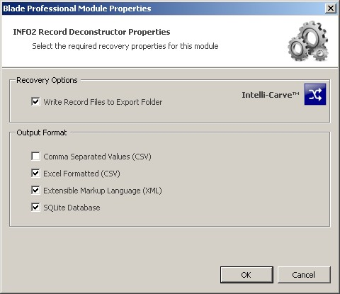 Blade Forensic Data Recovery INFO2 Extraction Properties