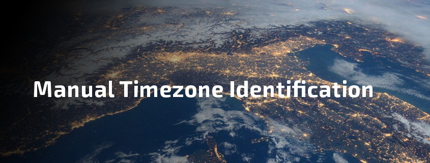 View of earth showing text 'Manual Timezone Identification'