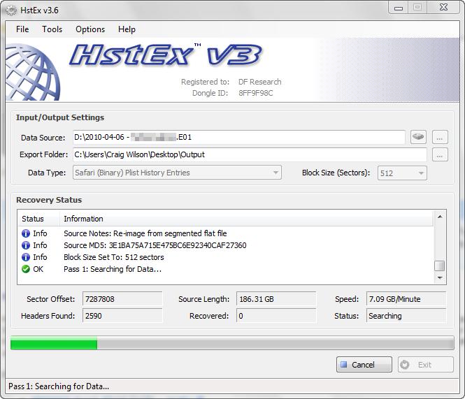 HstEx v3 Processing Recovering Apple Safari Web Data