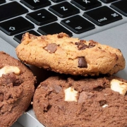 Cookies next to a laptop keyboard
