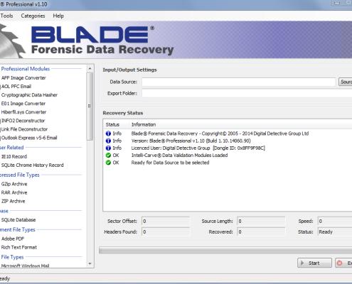 Digital Detective Blade Main Screen