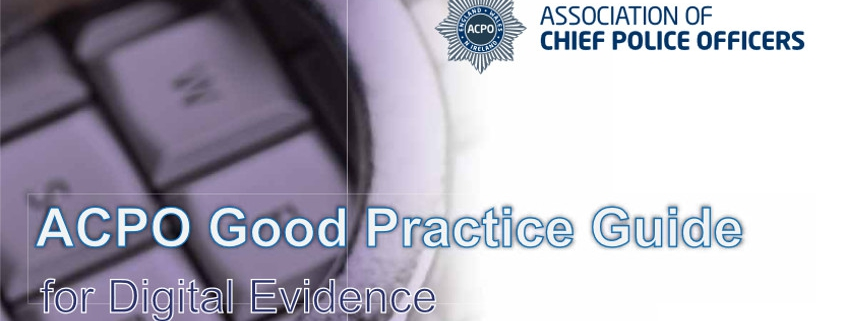 Front page of the ACPO Good Practice Guide for Digital Evidence