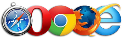 Image showing Apple Safari, Opera, Google Chrome, Mozilla Firefox and Internet Explorer browser logos