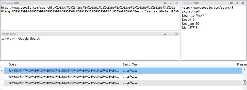 Digital Detective NetAnalysis® showing Arabic language decoding