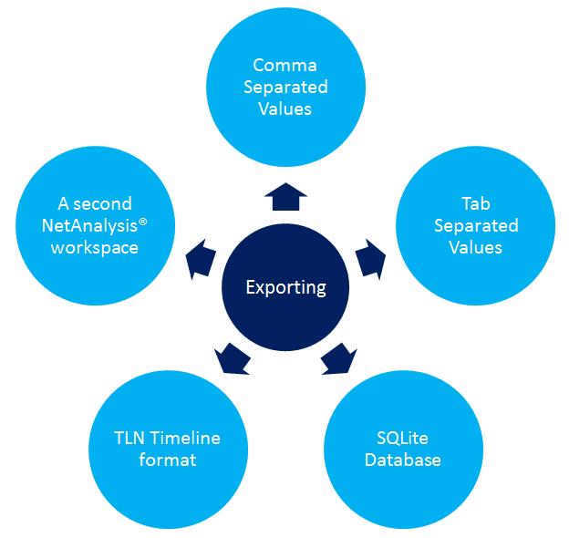 Image showing Digital Detective NetAnalysis® export options