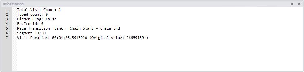 NetAnalysis v2 Information Panel Chrome History Entry