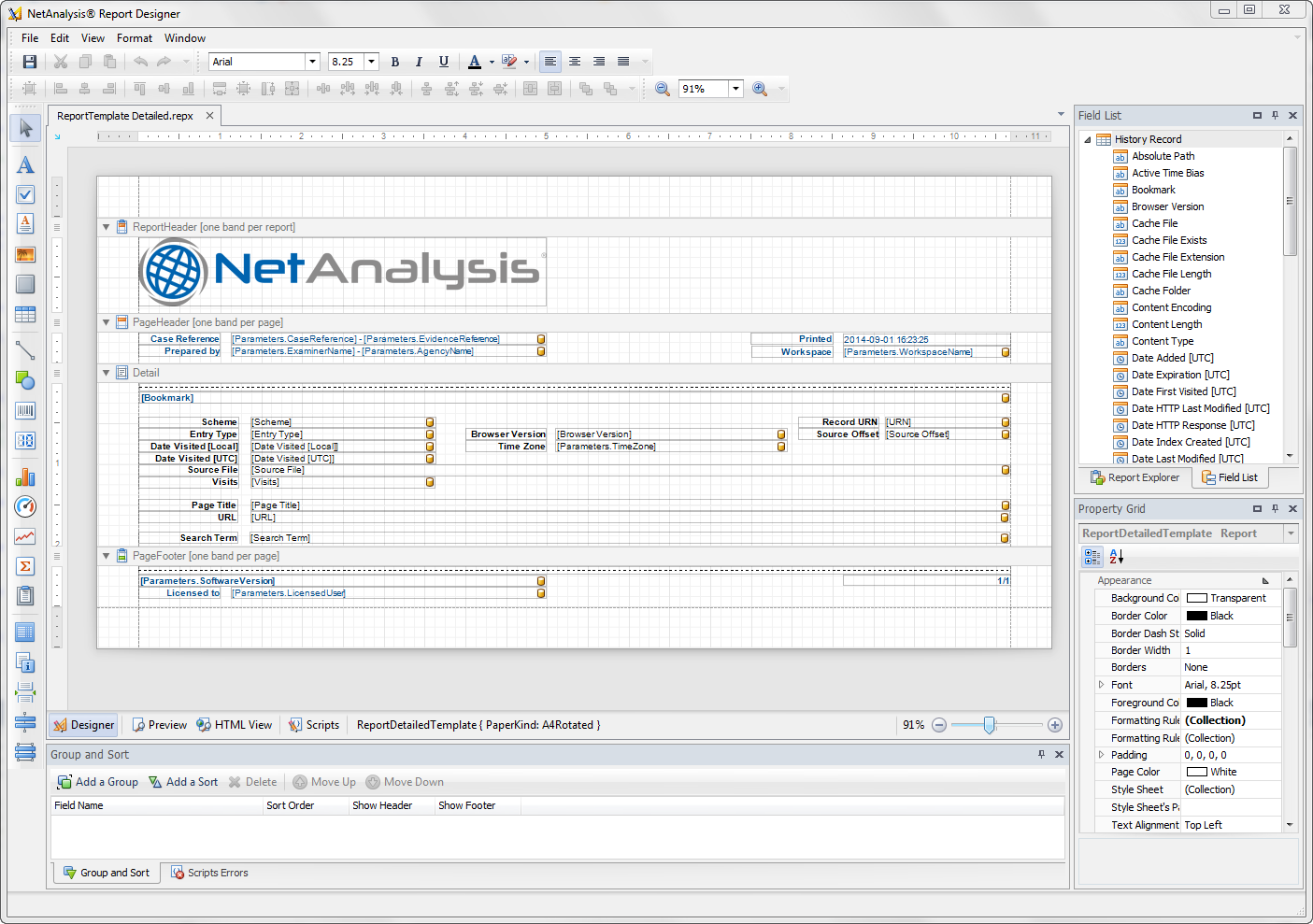 Digital Detective NetAnalysis® report designer screen with a report being edited