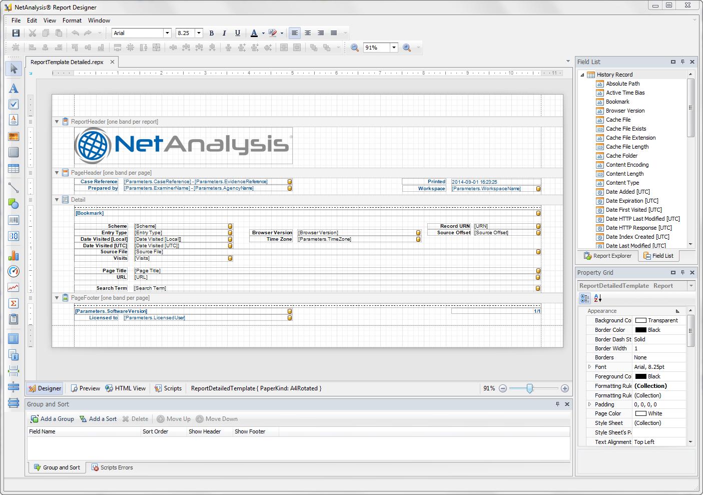 Digital Detective NetAnalysis® report designer screen with a report being edited