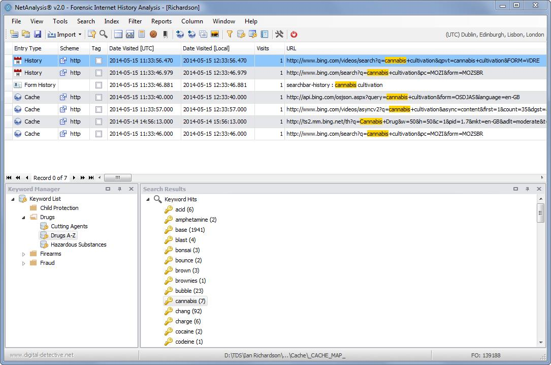 Digital Detective NetAnalysis® showing keyword searching and highlighted text