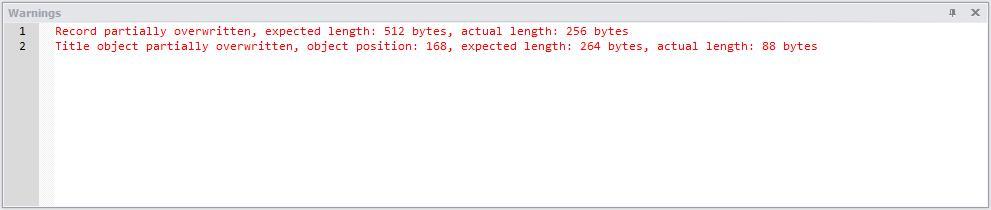 NetAnalysis v2 Warning Panel Internet Explorer Partially Overwritten Record
