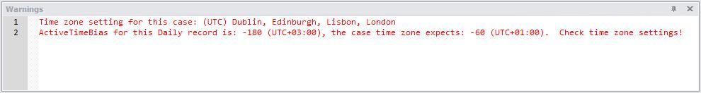 NetAnalysis v2 Warning Panel Time Zone Error