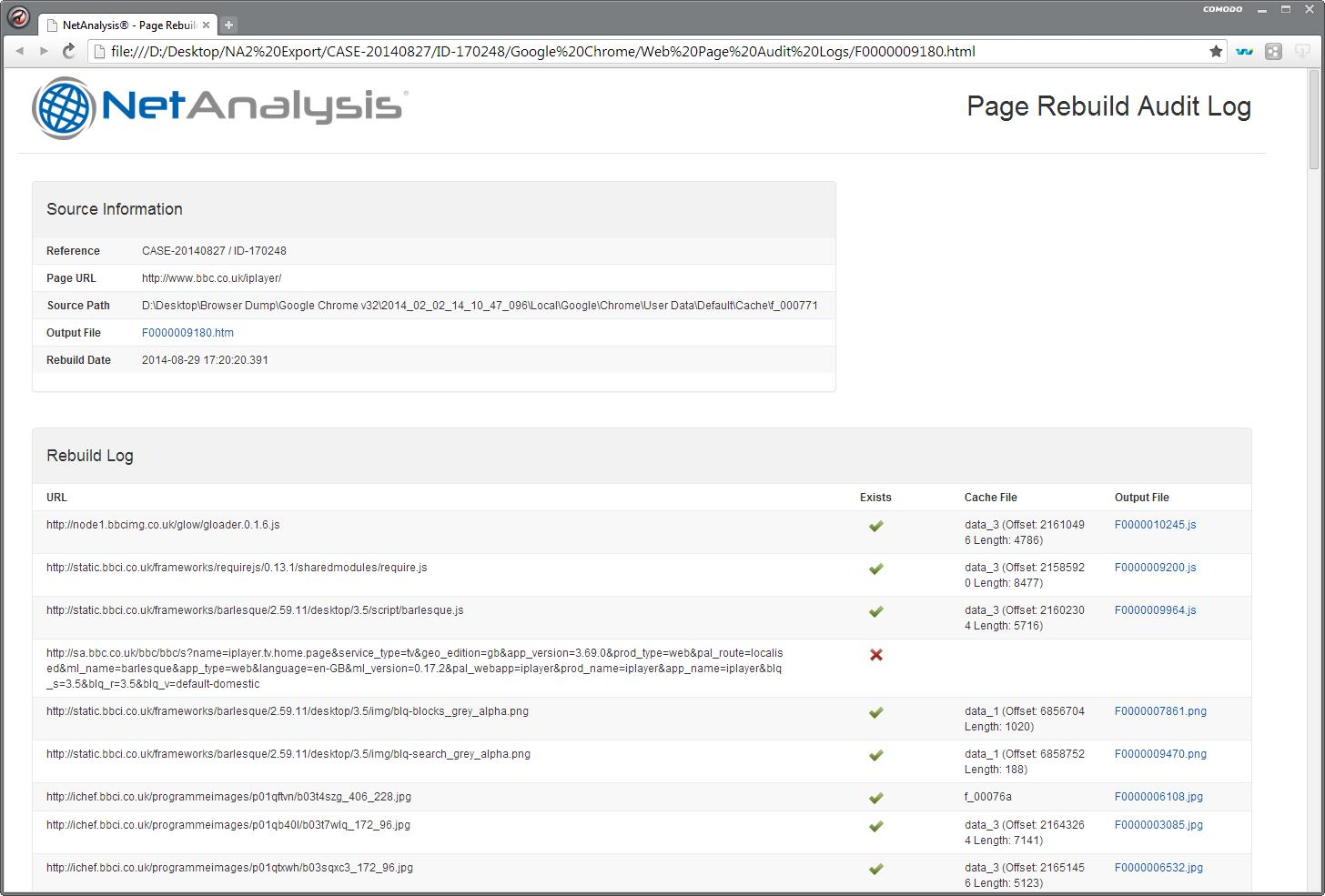 Digital Detective NetAnalysis® showing a Page Rebuild Audit Log