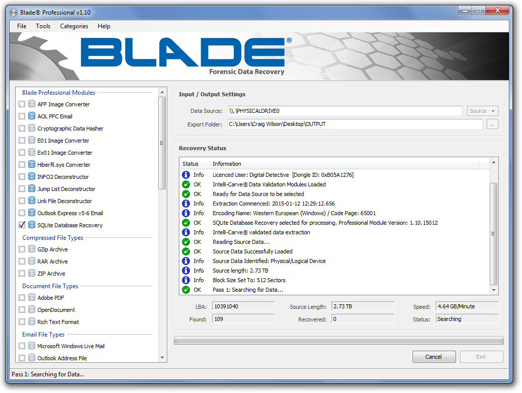 Digital Detective Blade v1.10 Main Form