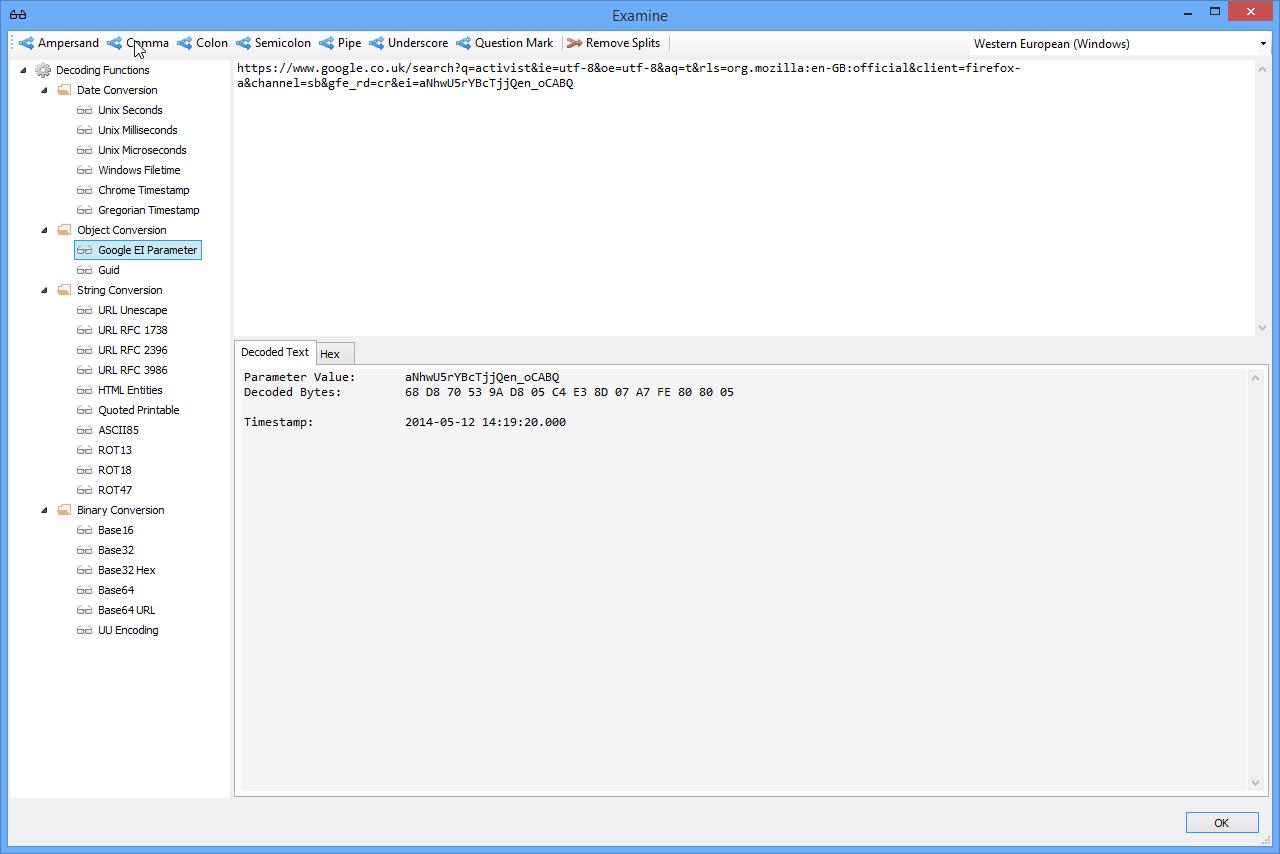 NetAnalysis v2 Decoding Google EI Parameter