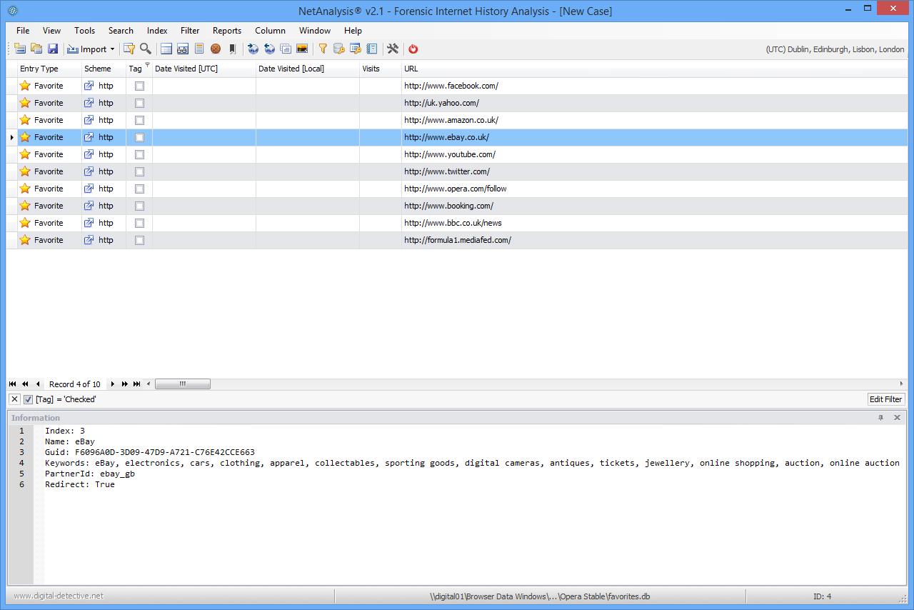 NetAnalysis v2 Opera Favorite Entries