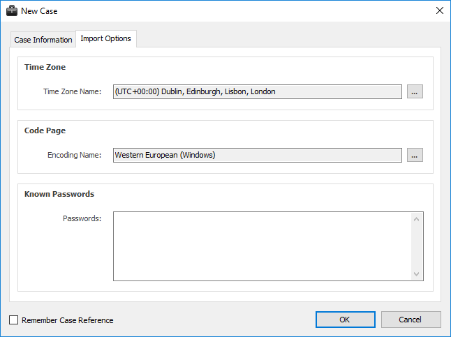 Digital Detective NetAnalysis® new case screen and option to set character encoding