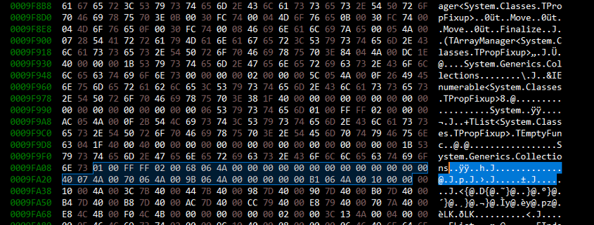 Hex viewer showing some highlighted bytes