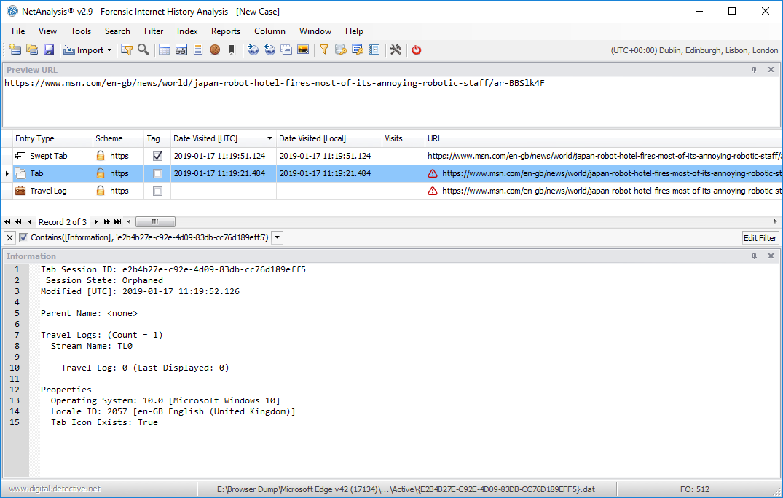 NetAnalysis showing Microsoft Edge Recovery Guid