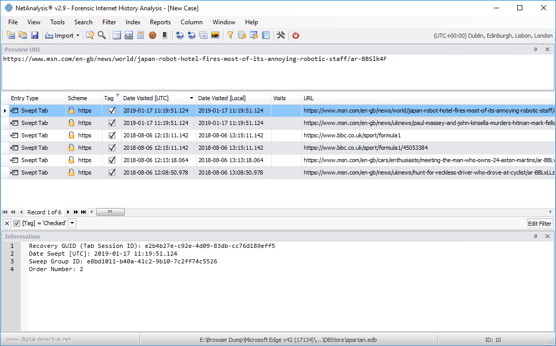 NetAnalysis showing Microsoft Edge Swept Tabs