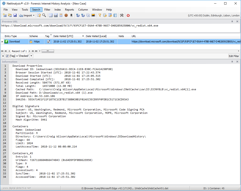 NetAnalysis showing Microsoft Edge and Internet Explorer Downloads