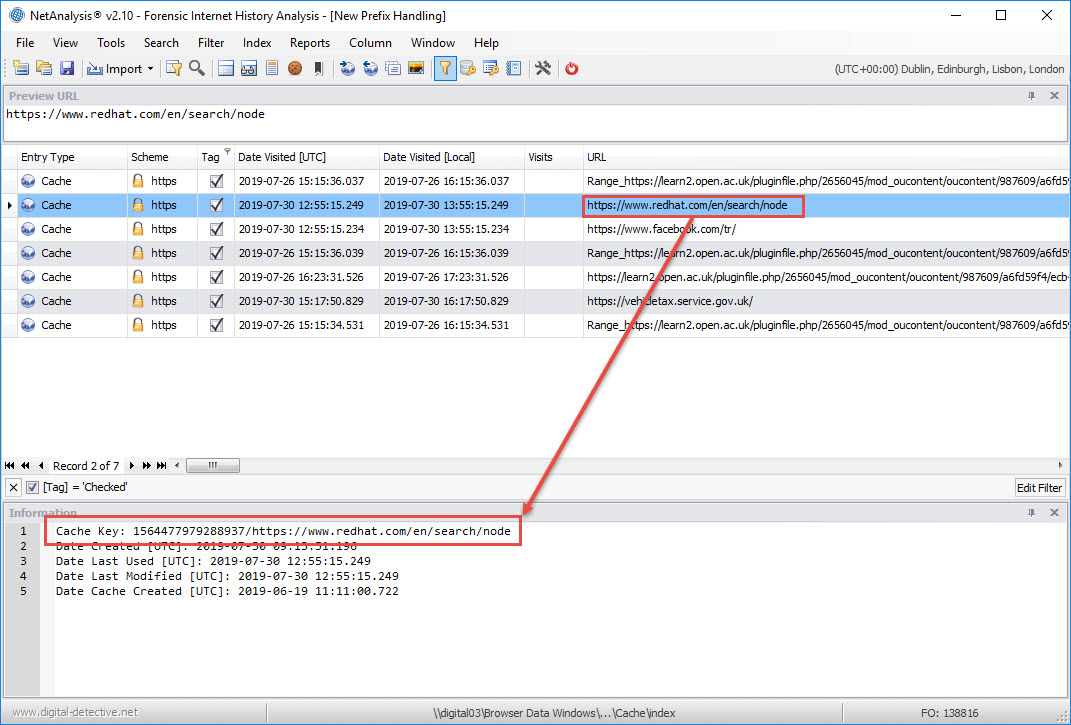 NetAnalysis showing Cache Prefix Removed and Cache Key displayed in Information Window