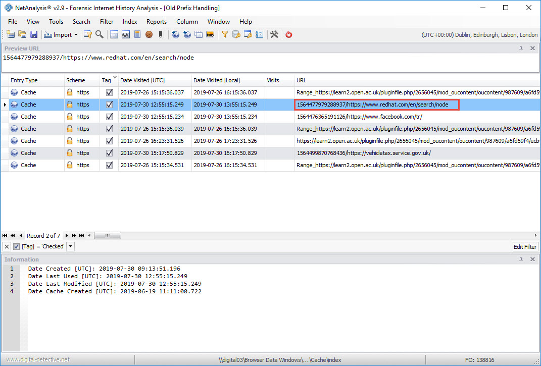 NetAnalysis showing Cache URL Prefix
