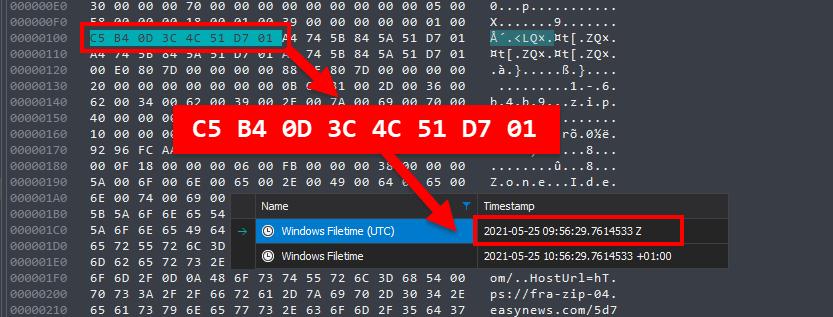 DCode Decoding Windows Filetime Hex Value
