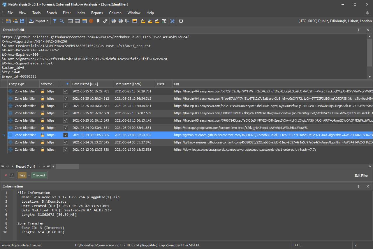 NetAnalysis Showing Download File with Zone.Identifier Alternate Data Stream