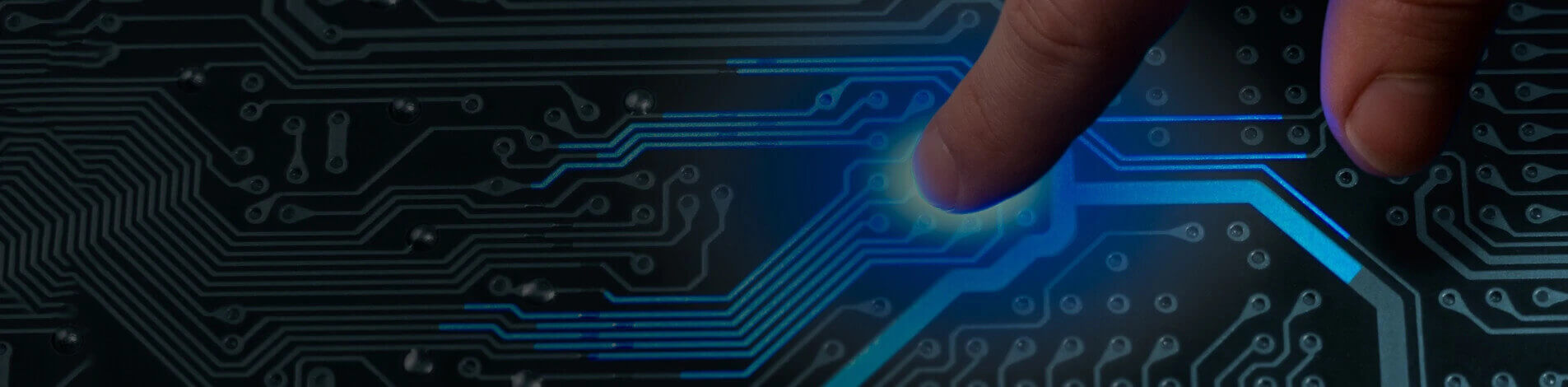 Printed Circuit board showing finger pointing at it