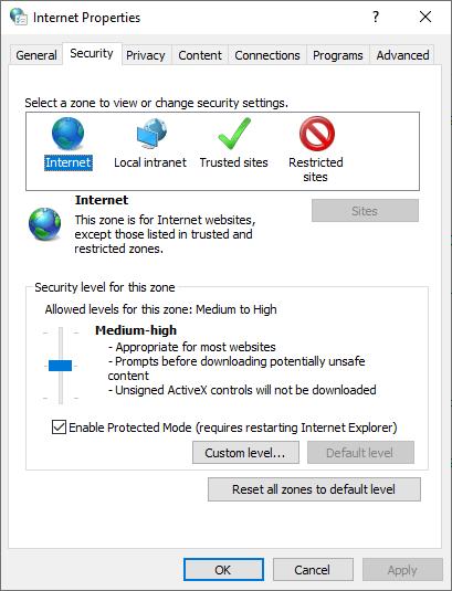 Windows Internet Properties » Security Window » URL Security Zone