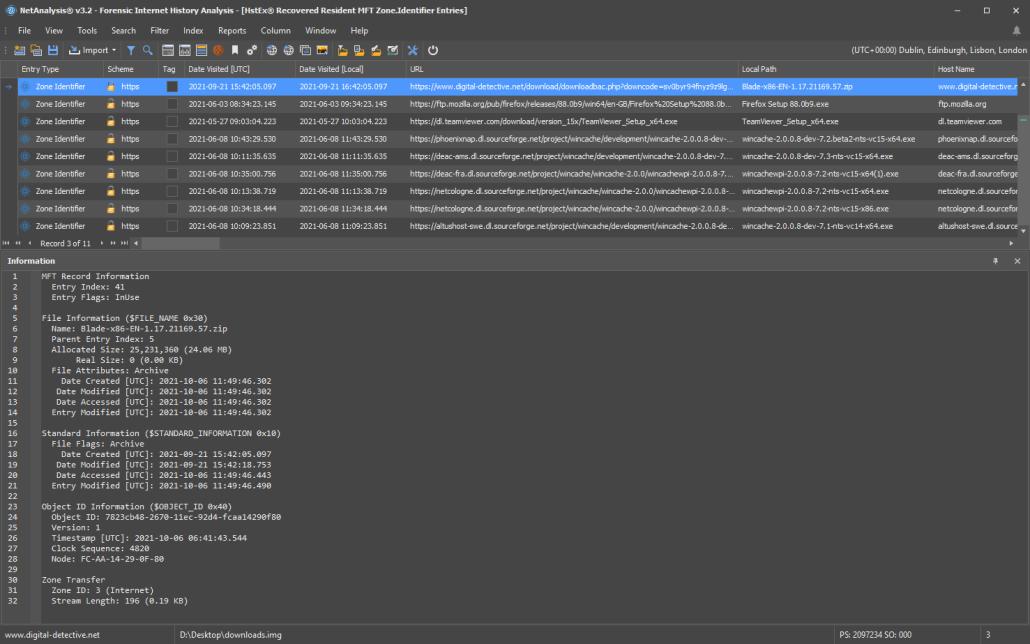 NetAnalysis showing HstEx recovered Zone.Identifier Streams